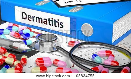 Illustration of doctor's desktop with different pills, capsules, statoscope, syringe, blue folder with label 'Dermatitis'