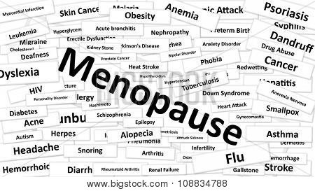 A disease called Menopause written in bold type. Black and white words
