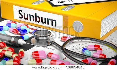 Illustration of doctor's desktop with different pills, capsules, statoscope, syringe, yellow folder with label 'Sunburn'