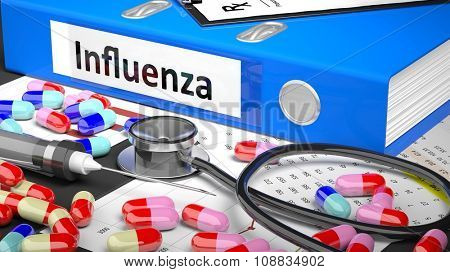 Illustration of doctor's desktop with different pills, capsules, statoscope, syringe, blue folder with label 'Influenza'