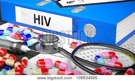 Illustration of doctor's desktop with different pills, capsules, statoscope, syringe, blue folder with label 'HIV'