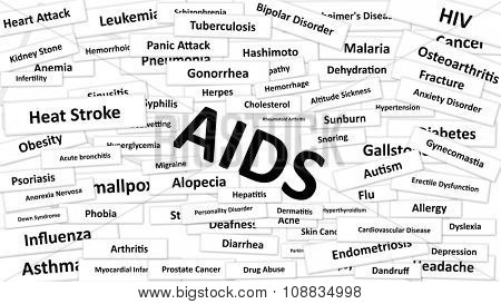 A disease called AIDS written in bold type. Black and white words