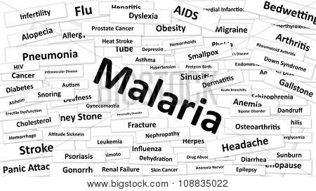 A disease called Malaria written in bold type. Black and white words