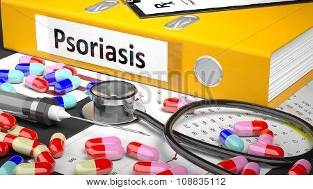 Illustration of doctor's desktop with different pills, capsules, statoscope, syringe, yellow folder with label 'Psoriasis'