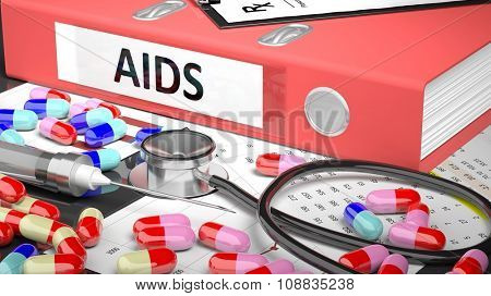 Illustration of doctor's desktop with different pills, capsules, statoscope, syringe, pale red folder with label 'AIDS'
