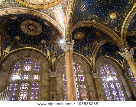 JERUSALEM, ISRAEL - JULY 13, 2015: The mosaic ceiling in The Church of All Nations