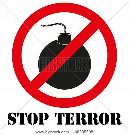 Sign with gun and symbol Stop terrorism