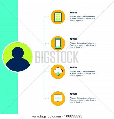 Bule, Yellow And Green Color Infographic, Timeline Template