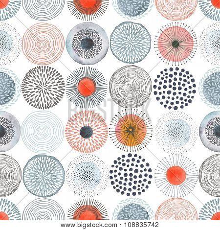 Seamless pattern with vector doodle circles colorful texture, abstraction illustration.