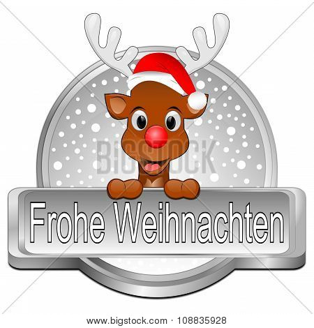 Reindeer wishing Merry Christmas Button - in german