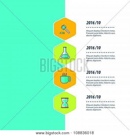 Timeline, Infographic Template Design Bule, Yellow And Green Color