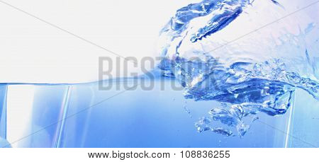 Abstract Water Splash With Waves And Bubbles.