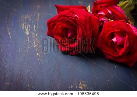 Three Red Roses For Valentines Day
