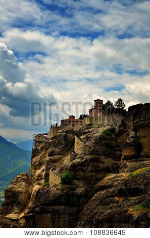 Inaccessible monasteries on the cliff in Meteora, Greece