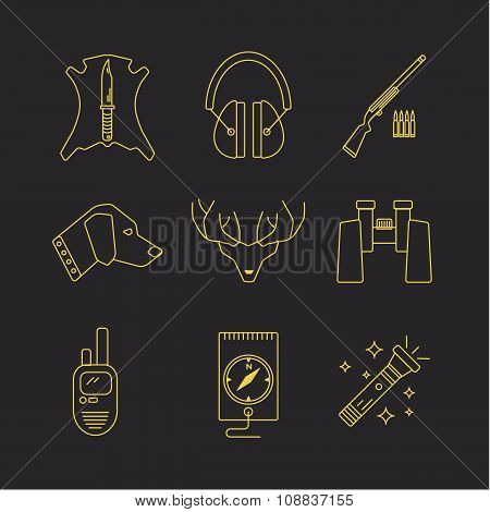 Vector deer hunter icons.