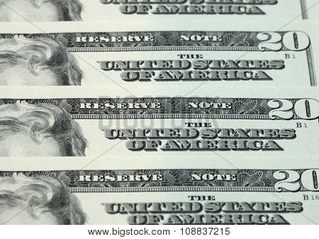 Twenty dollar bills arranged in stack