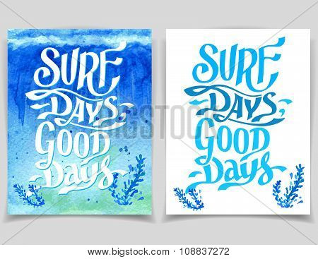 Surf Days Watercolor Greeting Cards