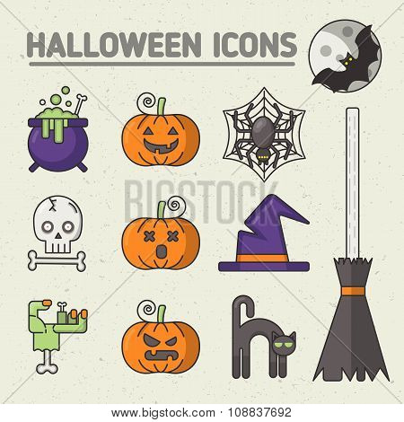 Halloween set of badges and icons.