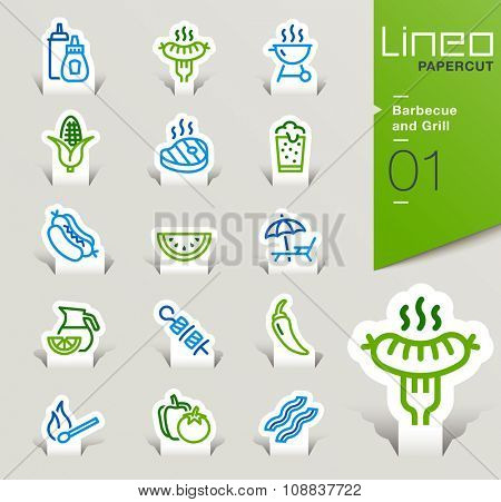 Lineo Papercut - Barbecue and Grill outline icons