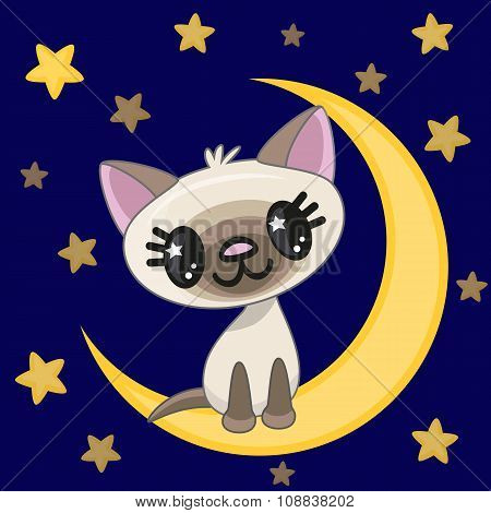 Cute Cat On The Moon