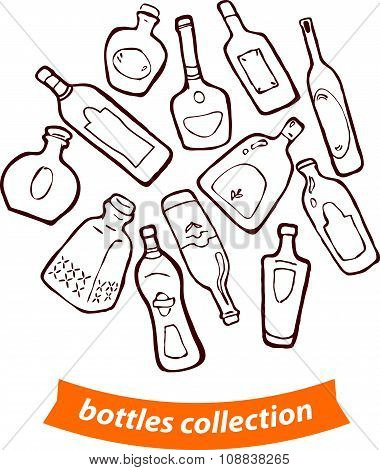 hand drawn different shaped bottles