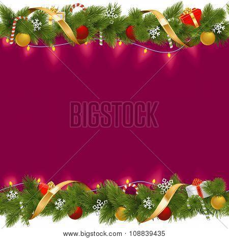 Vector Christmas Border With Garland