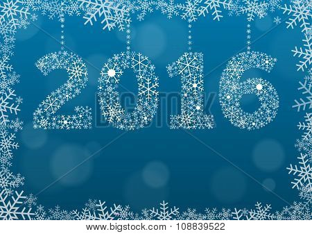 2016 Text Made Of Snowflakes On Background With Bokeh Effect