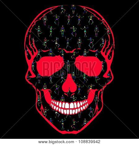 Human Skull With Colorful Dancing Skeletons