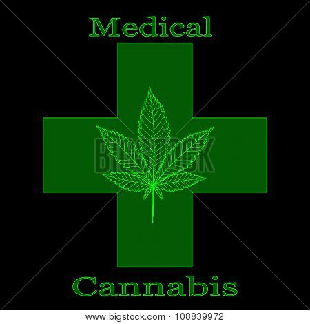 Marijuana Leaf With Green Cross And Words Medical Cannabis