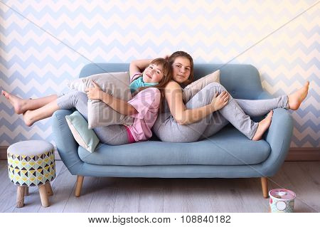 Teen Girls On Pajama Party With Pillows