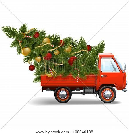 Vector Red Christmas Truck
