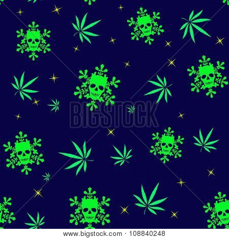 Seamless Pattern With Colorful Marijuana Leaves And Snowflakes With Human Skulls