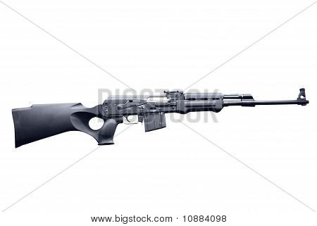 modified AK47 semi automatic hunting rifle isolated