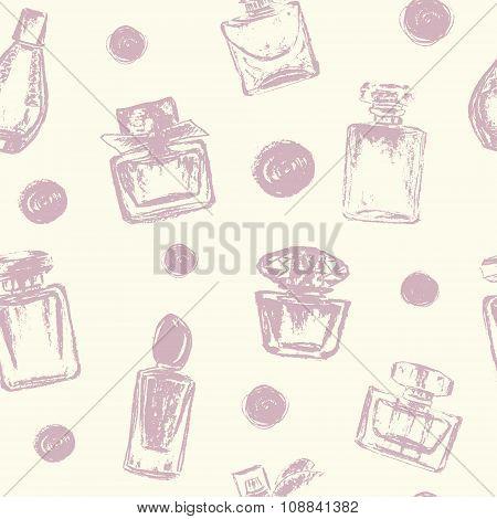 Vector Perfume Bottles And Polka Dots Seamless Pattern