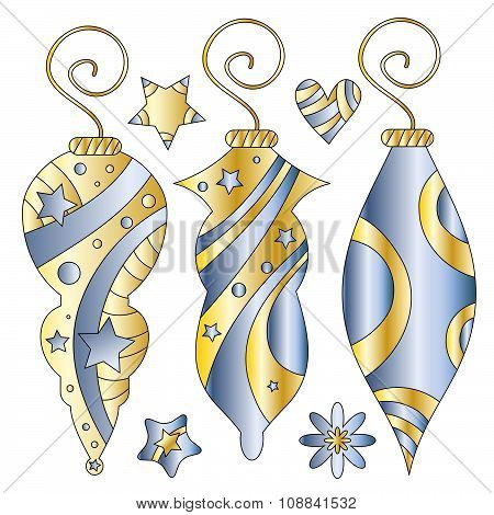 Blue and golden Christmas baubles stars and heart