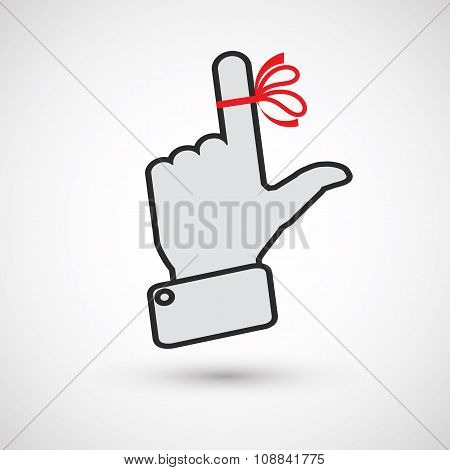 Hand with red ribbon on your finger, concepts. Reminder icon.
