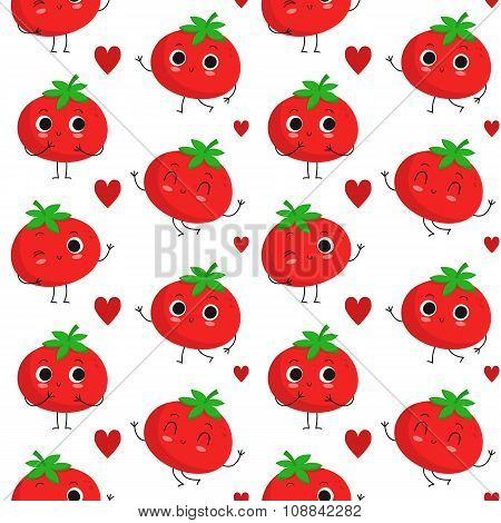 Tomatoes, Vector Seamless Pattern
