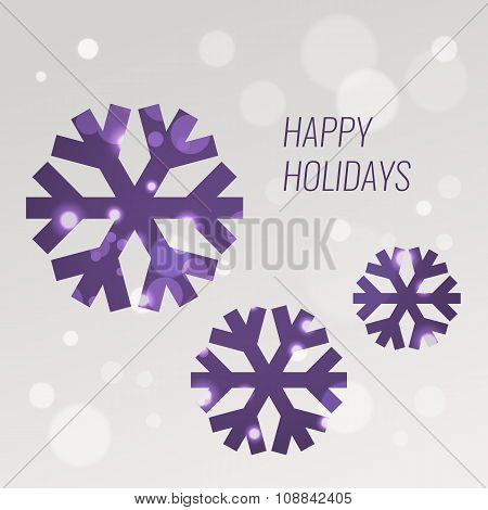 Purple Snowflakes, Vector Greeting Card Design Template With Bokeh