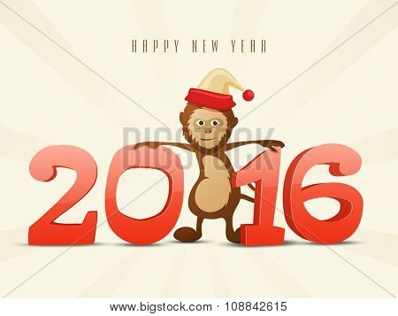 Stylish 3D text 2016 with cute Monkey for Chinese New Year celebration.