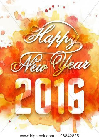 Stylish text Happy New Year 2016 on colorful splash background, can be used as Flyer, Banner or Pamphlet design.