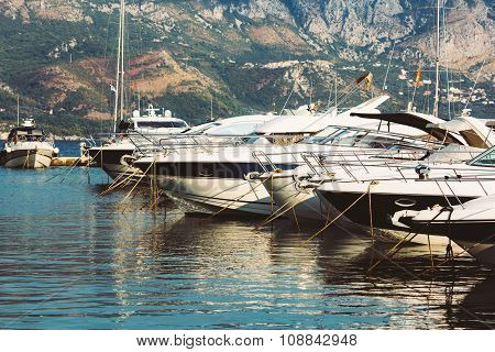 Yachts and boats in Budva marina, Montenegro.