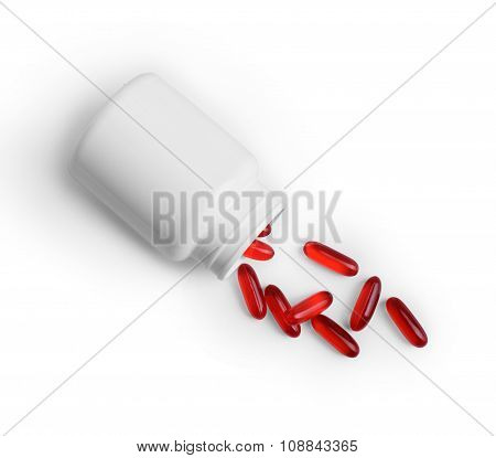 Open A Bottle Of Spilled Pills. Isolated On White