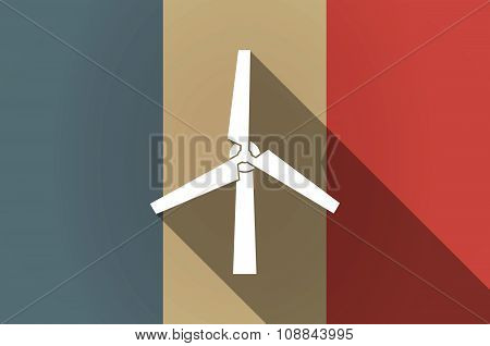 Long Shadow Flag Of France Vector Icon With A Wind Generator