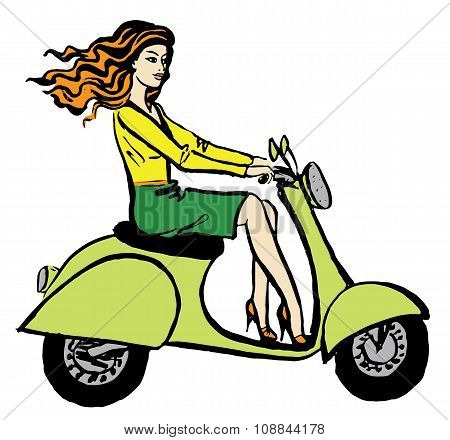 woman driving scooter