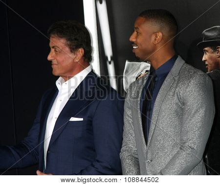 LOS ANGELES - NOV 19:  Sylvester Stallone, Michael B. Jordan at the