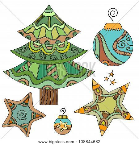 Christmas graphics set with tree bauble and stars