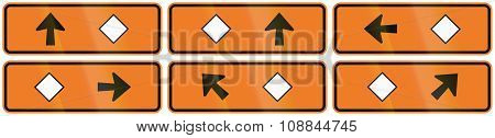 A Collection Of New Zealand Road Signs - Detour Directions With Diamond Symbol