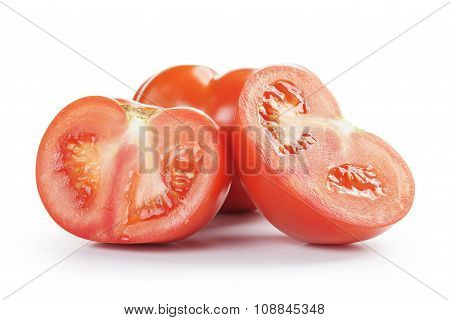 big beef tomatoes sliced, isolated on white