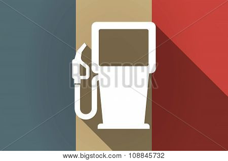 Long Shadow Flag Of France Vector Icon With A Gas Station