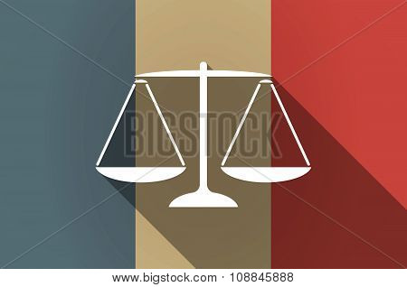 Long Shadow Flag Of France Vector Icon With A Justice Weight Scale Sign